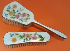 BEAUTIFUL FLORAL GUILLOCHE ENAMEL SILVER PLATED WHITE HAIRBRUSH & CLOTHES BRUSH