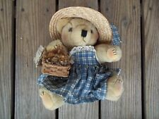 Aunt Daisy's Country Collection Plush Bear Dress Hat Dried Flowers Basket Joint