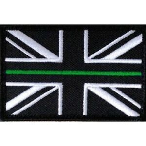 Thin Green Line Union Jack Hook Fastener Patch SMALL First Responder Medic