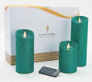 Luminara Glitter Pillars with Gift Box and Remote -Set of 3 NEW