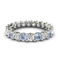2.03 Ct Natural Diamond Aquamarine Eternity Band 14K White Gold Rings Size M N P