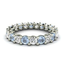 2.03 Ct Genuine Diamond Aquamarine Eternity Band 14K White Gold Ring Size K L M