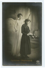 c 1917 German Glamour ANGEL FIRST COMMUNION Young Lady photo postcard