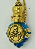 ONE OF A KIND important antique Victorian Blue Murano Glass SKULL  Poison bottle