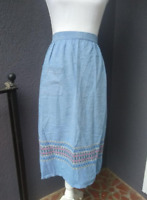 Vintage Retro Cotton Half Apron Blue With Cute Pattern - Very Good Condition!
