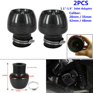 "Carbon Fiber Motorcycle Straight Pipe Air Intake Filter 1.1-1.9"" Adapter 28-48mm"