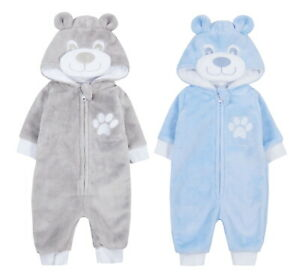 Baby Boys Novelty Animal Hooded Fleece All In One Teddy Bear Cuffed Pram Suit