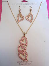 PINK AUSTRALIAN CRYSTAL HEART NECKLACE SET