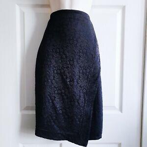 Lipsy Size 12 Stretch Navy Wiggle Skirt w Black Lace Overlay Tulip Hem Occasion