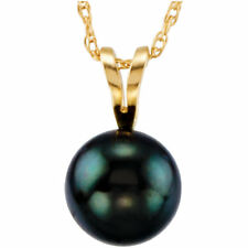 """Akoya Cultured Solitaire Pearl 18"""" Necklace In 14K Yellow Gold"""