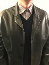 Barneys New York Men's Genuine Leather Jacket Coat Lined Size L Was $600.