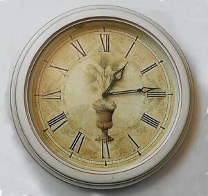 "European Style Antique White Palm Quartz Wall Clock 12"" Round Quiet"