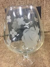 """Glass Etched Flowers Brandy Snifter 11"""" Tall Centerpiece Vase Fish, Cloche, Tips"""