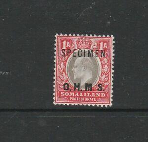Somaliland 1903 OHMS Opts, Opt SPECIMEN, 1A Fresh LMM SG O11s