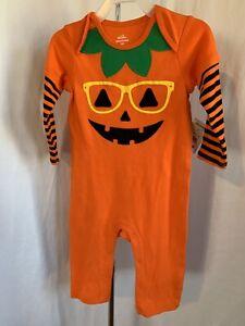 Halloween Newborn 1 Pc Orange Black Pumpkin Face Glasses Coverall Bodysuit NWT