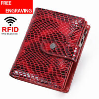 Fashion Women's Genuine Leather Wallet RFID Blocking ID Card Holder Bifold Purse