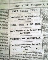 MARY HARRIS Abraham Lincoln's Assassination Trial ACQUITTAL 1865 Old Newspaper