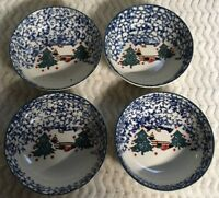 Christmas Folk Craft CABIN IN THE SNOW Lot of 4 Cereal Bowls Tienshan Blue