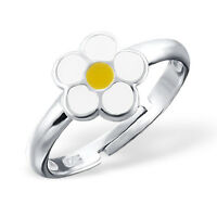 Childrens Girls 925 Sterling Silver Daisy Flower Yellow Adjustable Ring Boxed