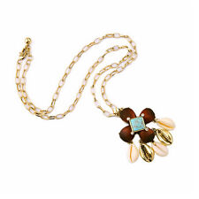 NEW Anthropologie Wooden Bead Teal Swirl Gold Leaves Necklace