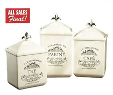 Set of 3 Cookie Jar Canister Kitchen Storage Earthenware Offwhite French Vintage