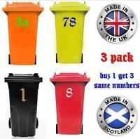 3er SET Mülltonne Hausnummer Aufkleber   20cm   16 Farben   Kostenfreier Versand