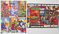 Lot of 2 Marvel Mini Promo Poster 2009 Hulk Spiderman Avengers Double Sided
