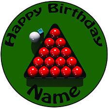 """Snooker Bolas Personalizado Glaseado Cumpleaños Pastel Topper Pre-Corte Redondo 8"""" (20cm)"""