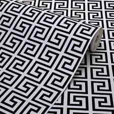 Exclusive Black/White Geometric Greek Key Velvet Flock Wallpaper (J102)