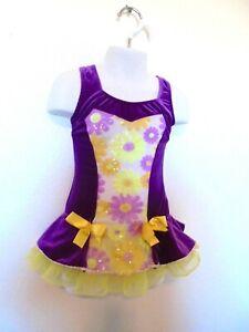 Art Stone Girl's Purple & Yellow Velour Floral Sparkly Dance Costume  - XSC