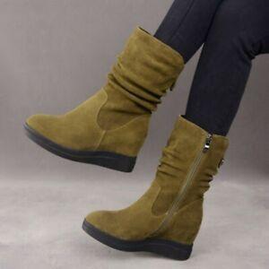 Retro Women Hidden Wedge Heel Round Toe Slouch Pattern Zip Suede Mid Calf Boots