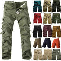 Mens Military Camo Combat Army Cargo Pants Shorts Trousers Casual Hiking Pockets