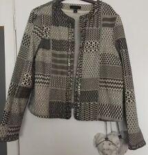 Monochrome à motifs & perles Manteau Court Taille 18 entièrement neuf sans étiquette