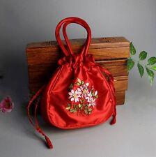 X# Sexy Womens Fashion beautiful Chinese Handmade Embroider Silk Bag Red