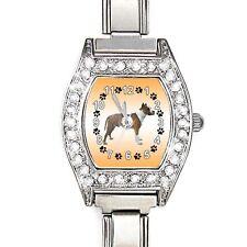 Boxer Dog CZ Womens Stainless Steel Italian Charm Bracelet Wrist Watch BJ1054
