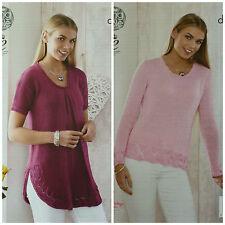 Knitting Pattern donna con scollo tondo lunga Parte Superiore & Maglione Orlo in Pizzo DK King Cole 4530