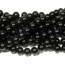 "12mm Synthetic Black Onyx Round Hardened Glass Beads 40cm 15"" Strand"