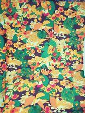 "Vtg 70s Retro Fabric Polyester Stretch Flower Florl Print 2 yards x 60"" orange"