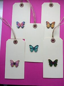 5 X HANDMADE LARGE CREAM BUTTERFLY GIFT TAGS / LUGGAGE LABELS THANKYOU BIRTHDAY