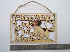 Spaniel, grande, in legno, Dog House e home PLACCA, DISPONIBILI altre razze