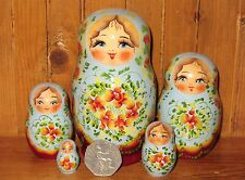 Russian small nesting dolls 5 Light Blue Red Matryoshka MARCHENKO Christmas GIFT