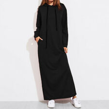 Women Solid Hoodies Hooded Loose Long Sleeve Sweatshirt Maxi Long Dress Sweater