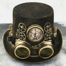 STEAMPUNK HAT GOGGLES Set - 2 pc Gold Vintage-Look Top Hat w/Clock Gears Chains