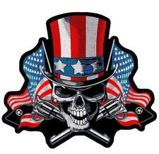 Angry Uncle Sam Skull American Flag Embroidered Patch Iron or Sew HLPM22209