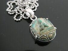 "Vintage Natural Blue Tibetan Turquoise Buddha Sterling Pendant Necklace 18"""