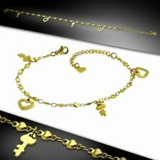 Golden With Heart Love Heart Shaped Bracelet Made Of Chain Stainless Steel