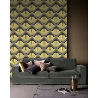Abstract art deco Removable wallpaper black and yellow wall mural reusable