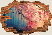 3D Hole in Wall Pink Forest View Wall Sticker Mural Film Art Decal Wallpaper S37
