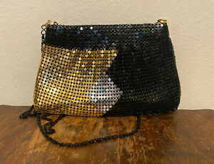 VTG Black Silver & Gold Metal Chain Mail Link Mesh Bag Handbag Crossbody Purse