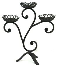 3 Tier PILLAR HEAVY Black Metal Cast IRON CANDLE HOLDER (STAND) Rustic Ornate